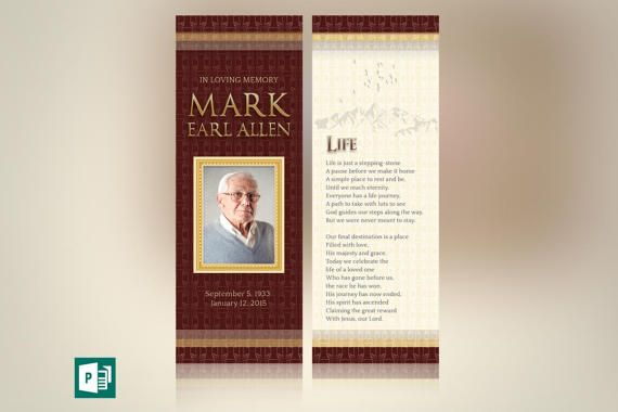 Legacy Memorial Bookmark Publisher Template Set is ideal for a ...