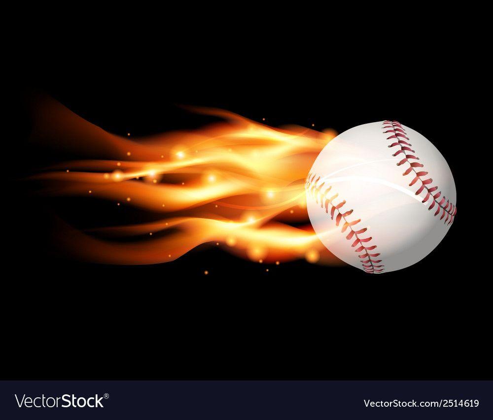Fire Baseball Royalty Free Vector Image Vectorstock Sponsored Royalty Baseball Fire Free Ad Baseball Baseball Wallpaper Vector Free