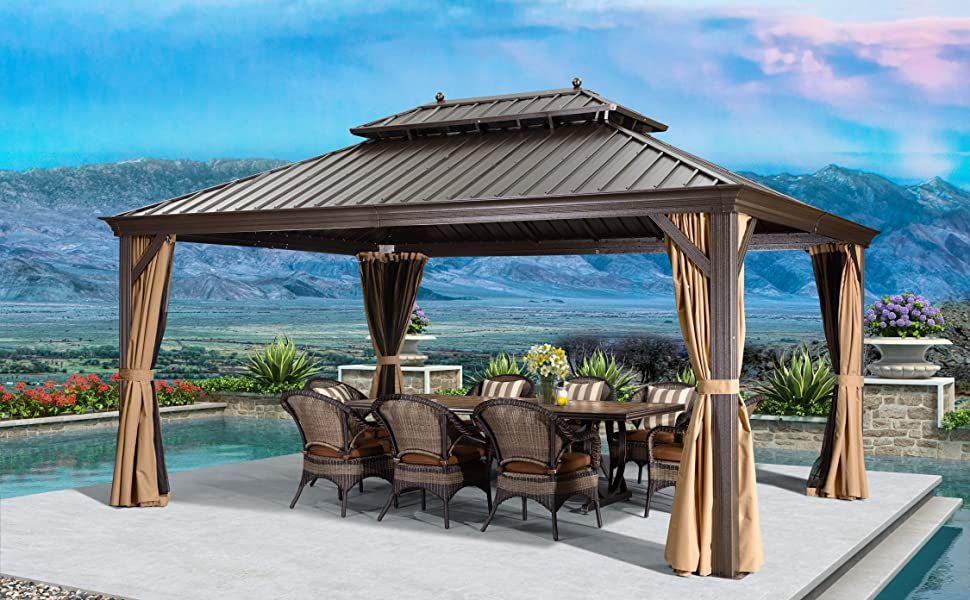 Amazonsmile Purple Leaf 10 X 12 Outdoor Galvanized Steel Hardtop Double Top Permanent Gazebo Canopy Curtains Aluminum Fra In 2020 Patio Gazebo Gazebo Garden Gazebo
