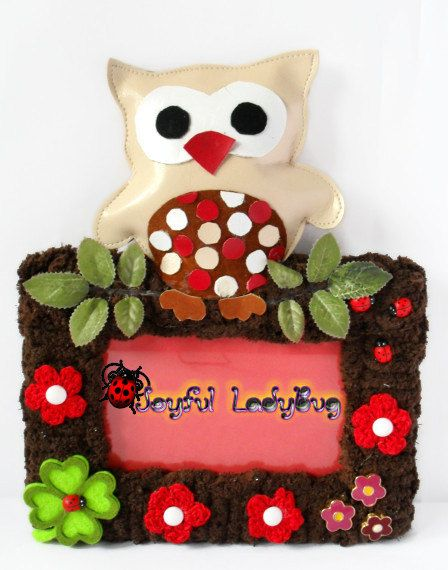 Handmade Leather Owl In Love Picture Frame Photo Frame Decorated