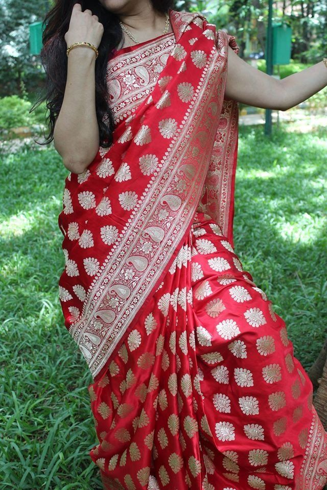 6771c457c61 Bridal red Pure Handloom Banarasi silk saree | Wedding | Saree, Silk ...