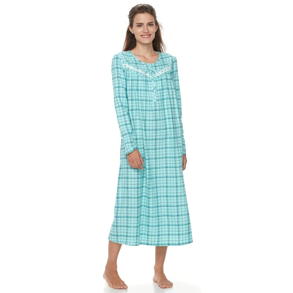 Women\'s Croft & Barrow® Pajamas: Lace Flannel Gown, Med Grey ...