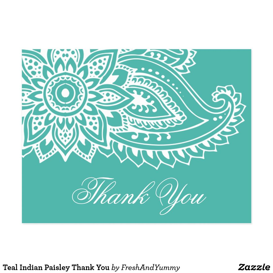 Teal Indian Paisley Thank You Postcard Zazzle com