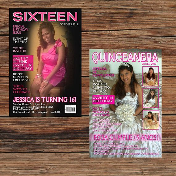 Sweet 16 Quinceanera Magazine Cover Birthday Party Invitations or – Magazine Cover Birthday Invitations