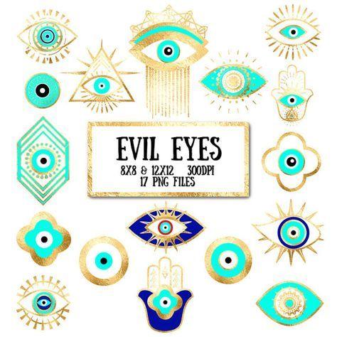Evil Eye Clip Art Gold Foil Evil Eye Third Eye Hamsa Bohemian Yoga