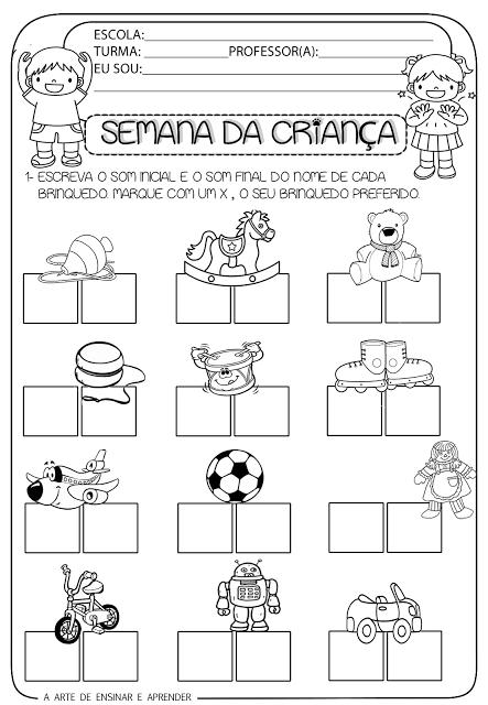 Tarefas para educação infantil 6 anos