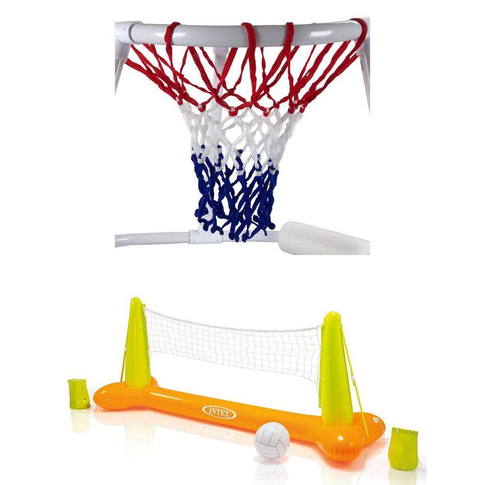 Swimline Super Hoops Floating Pool Basketball Game Volleyball Game With Balls Pool Basketball Volleyball Games Basketball Games