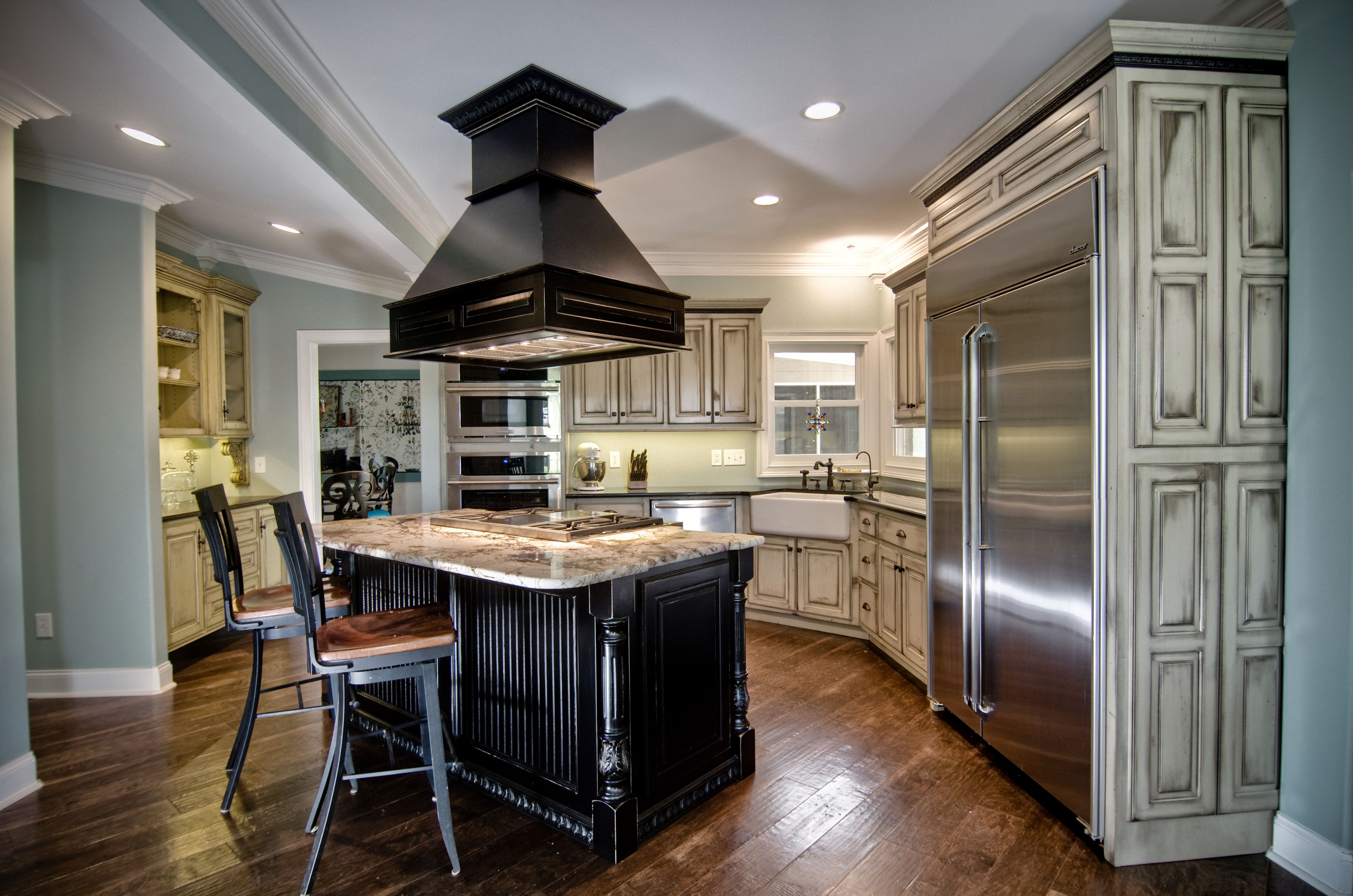 Rustic Painted And Glazed Finish Used On Main Kitchen Cabinetry