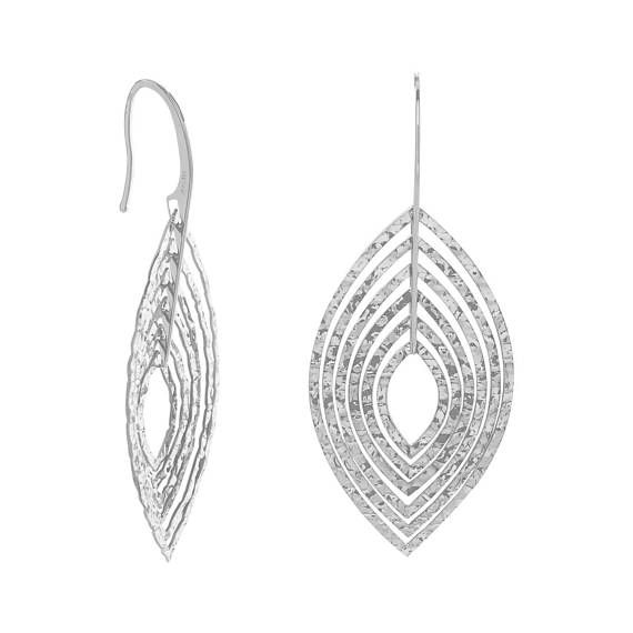Rhodium Plated Steling Silver 3D Marquise Shape Dangle