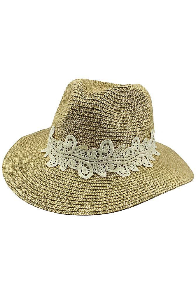 80ce74830a7 Woven Straw Pinch Top Panama Hat With Lace Band