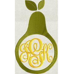 Pear Frame Design - Fruit - EMBROIDERY DESIGN FILE - Instant download - Dst Hus Jef Pes Exp formats