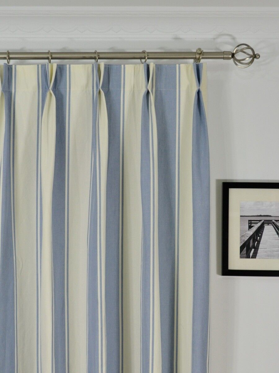 108 Inch Wide Shower Curtain Moonbay Stripe Double Pinch Pleat Cotton Extra Long Curtain 108