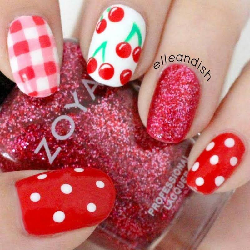 This video tutorial shows how to paint cute cherry and plaid designs to your nails. Watch and learn here to recreate this cute nail art.