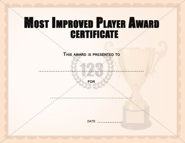 Most Improved Player Award Certificates Templates Certificate - award certificates templates