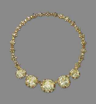 AN IMPRESSIVE COLOURED DIAMOND NECKLACE The front set with five yellow cushion-shaped diamonds, weighing approximately 53.09, 35.58, 34.13, 17.25 and 17.17 carats, each in a brilliant-cut diamond surround, to the flowerhead link neckchain, mounted in gold, 48.2 cm Accompaned by 5 reports, all dated 30 June 2014, fromm the GIA Gemological Institute of America, stating: Please note that the remaining coloured diamonds have not been tested for natural colour