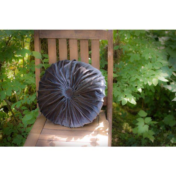 Dark Gray Silk Velvet Tufted Pleated Round Throw Pillow (u20ac75) Via Polyvore  Featuring