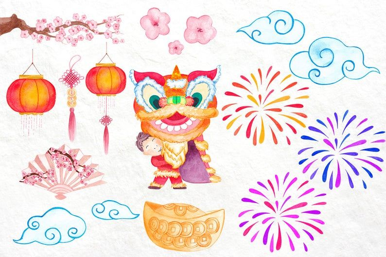 Chinese New Year clipart Chinese Dragon clipart Lantern