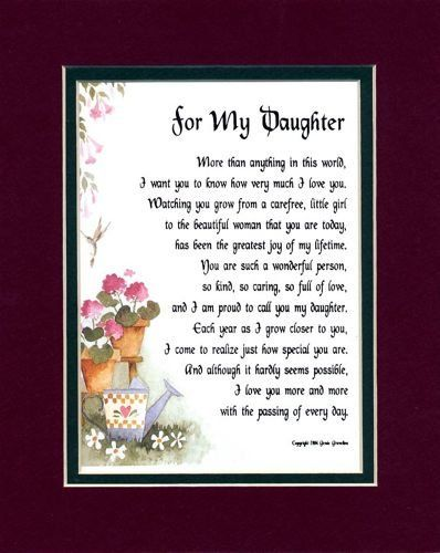 For My Daughter 47 Touching 8x10 Poem Double Matted I