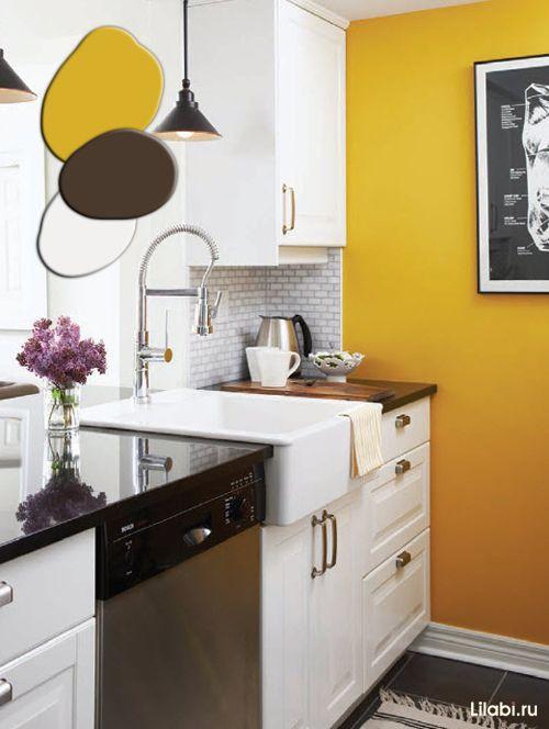 sochetanie cvetov v interere foto 86 jpg 500 664 yellow kitchen walls yellow kitchen on kitchen remodel yellow walls id=13408