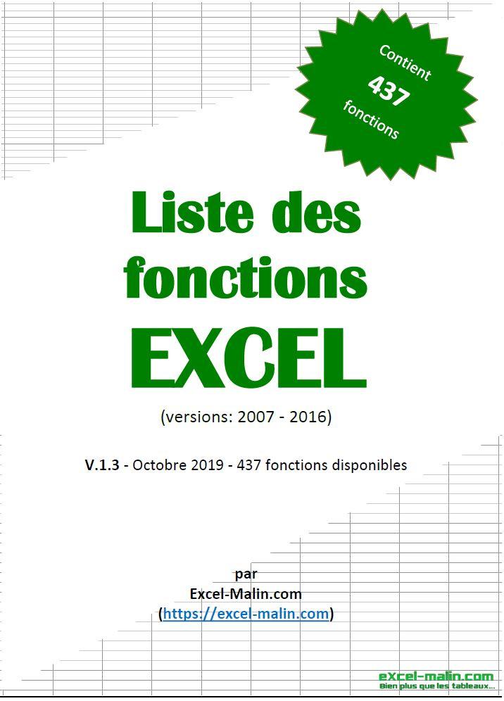 Liste Des Fonctions Excel Guide Pratique En Pdf Excel Malin Com En 2020 Equations Mathematiques Guide Pratique Tableau Croise Dynamique