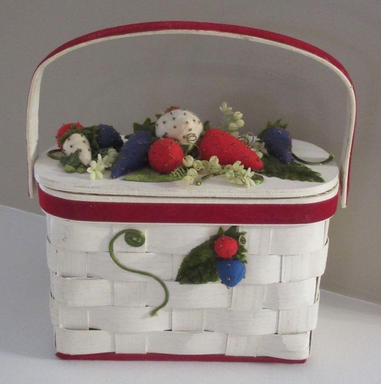 VTG Wicker Basket Purse Velvet Strawberries Flowers Summer Garden Party Charity