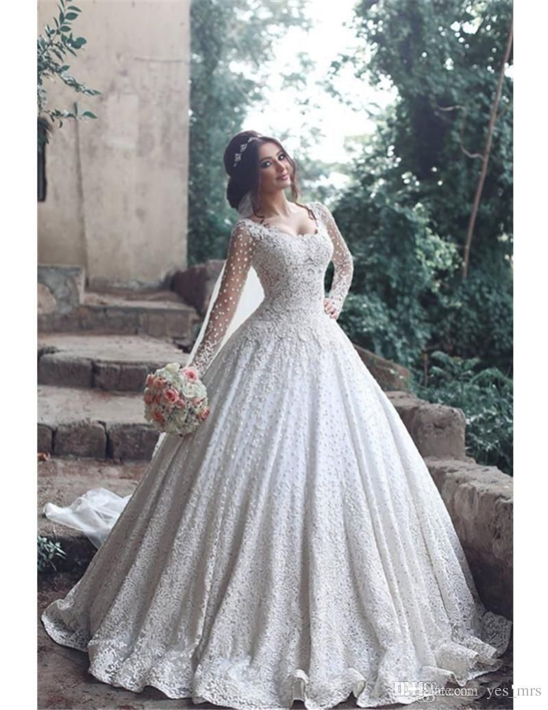 new arabic wedding dresses scoop neck long sleeves full lace
