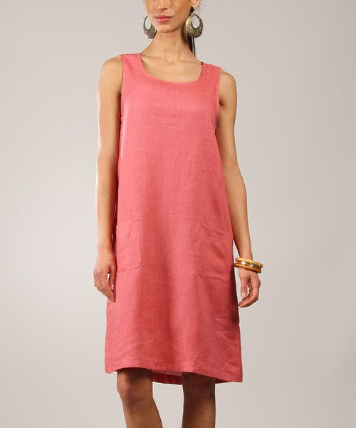 47c690f303 Another great find on  zulily! Eva Tralala Pink Linen Scoop Neck Sleeveless  Dress by Eva Tralala  zulilyfinds