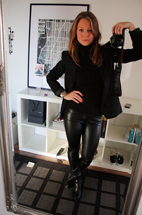 Stunning office look with black leather pants! Amateur ...