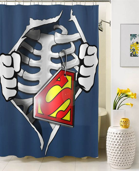 Skeleton Rib Cage With Superman Shower Curtain By Nancicurtain
