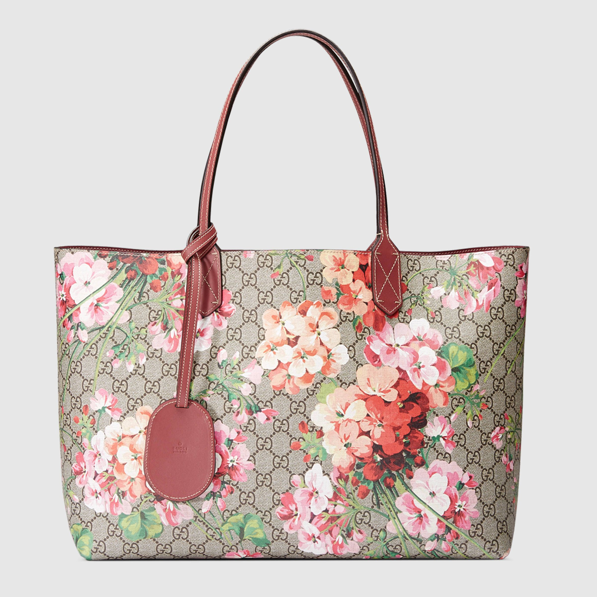 9f57f0a105e Reversible GG Blooms leather tote