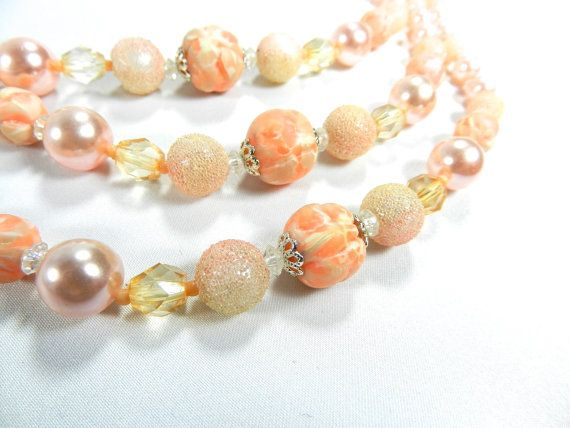 c1950s Coral Peach Necklace Choker by DearVintageSisters on Etsy, $29.00