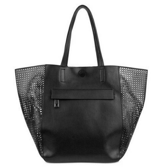 """Kenneth Cole Perforated Tote Bag. Sporty, chic tote from Kenneth Cole Reaction. Faux leather, with petite perforations. Double handles with 9"""" drop. Snap closure. Exterior features silver-tone hardware and 1 front zip pocket. Interior features 1 zip pocket. 14"""" W x 11"""" H x 8"""" D. Silhouette is based off 5'9"""" on model.  Color: Black/Silver. Kenneth Cole Reaction Bags Totes"""