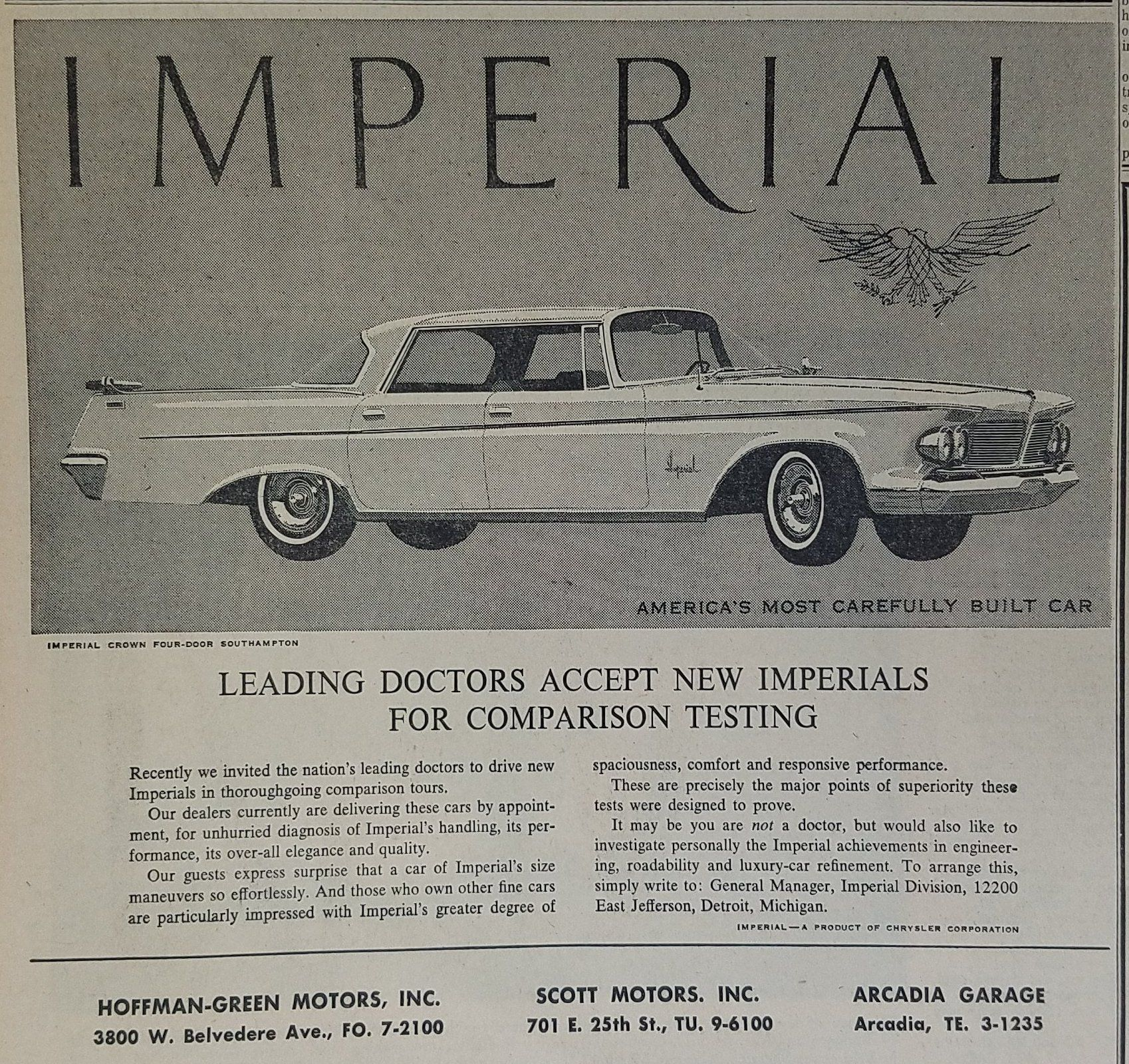 1962 Chrysler Imperial Crown Automobile Vintage Ad | Ads, Cars and ...