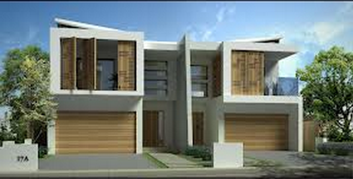 Interesting Verandah Privacy Panels Not A Bad Overall Design Either Double Garage And Side Access Duplex Design Townhouse Designs Duplex House Design