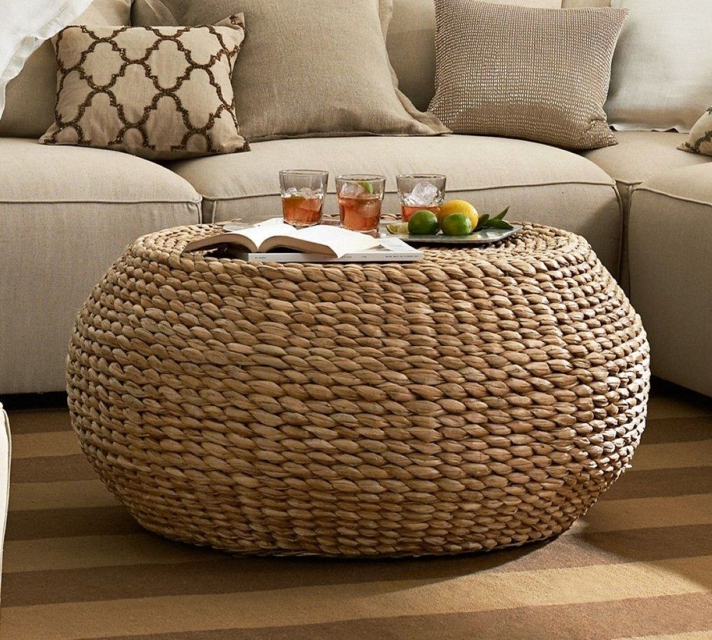 Round Wicker Ottoman Coffee Table Coffee Table Pottery Barn