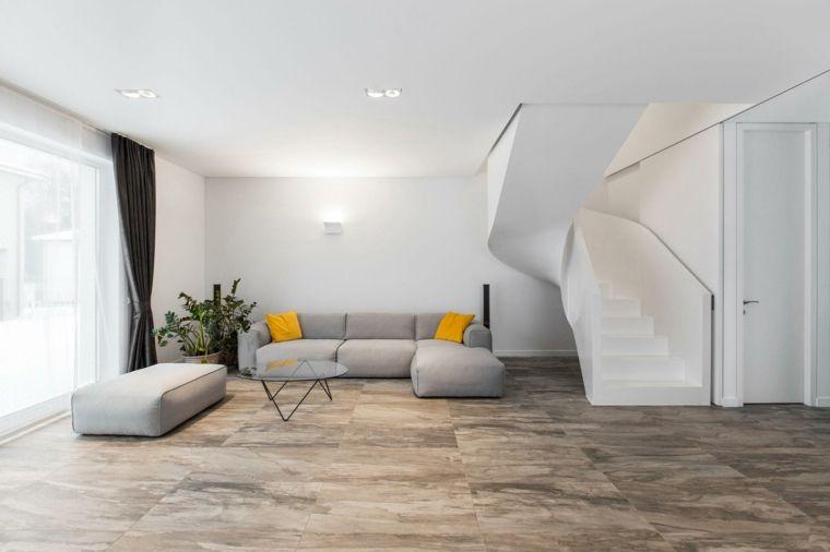 peinture à effet-béton ciré, panneaux muraux gris assortis, plafond