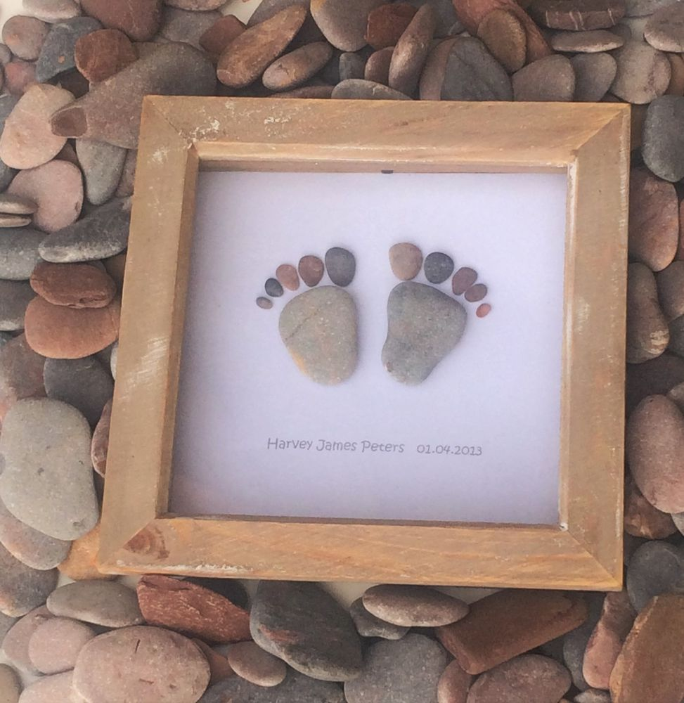 Baby Feet Pebble Art Toes Beach Lover Sand Sea Surf Personalised Gift Name/Date