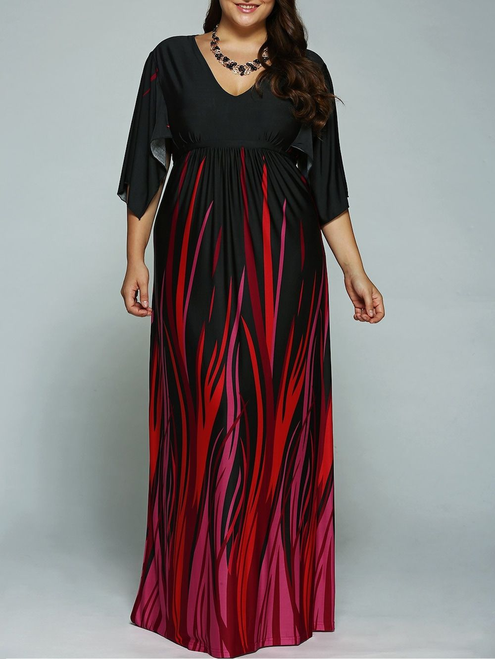 4758c267cfbc A Line Empire Waist Printed Plus Size Formal Maxi Dress with Batwing Sleeves