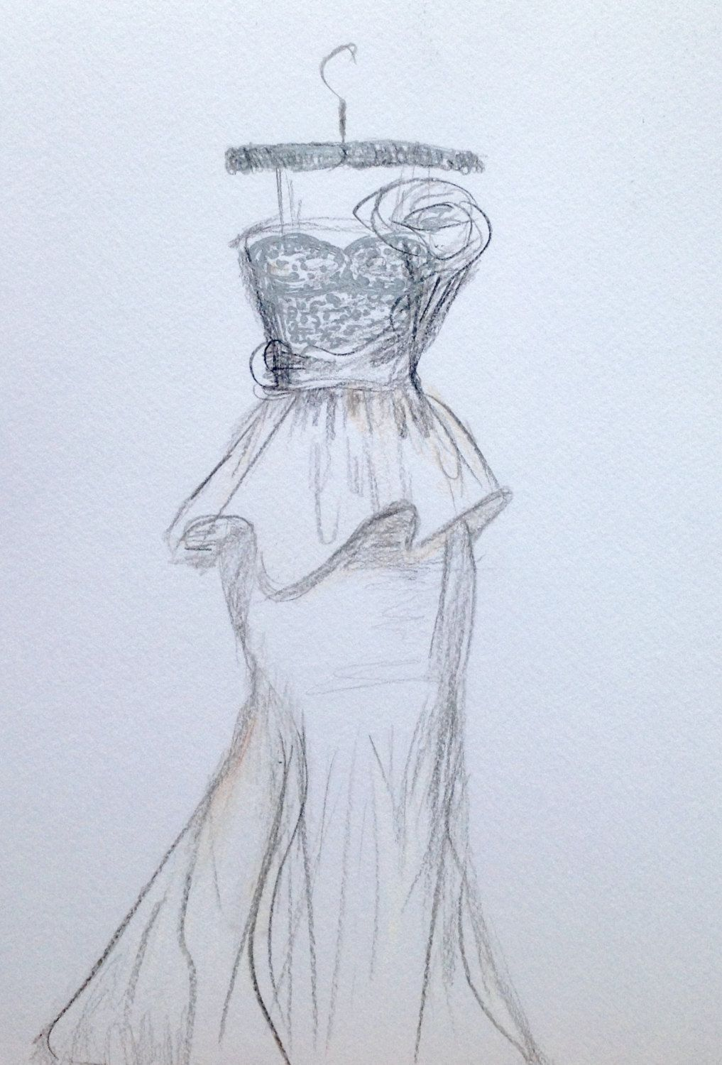 Wedding Dress Drawing Sketch Gift Bride Simply Email Me Photos Of The