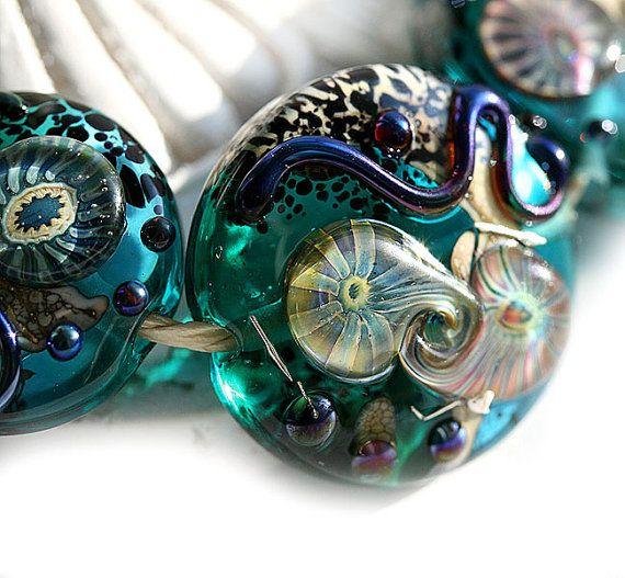ocean handmade lampwork glass beads aqua teal mystery
