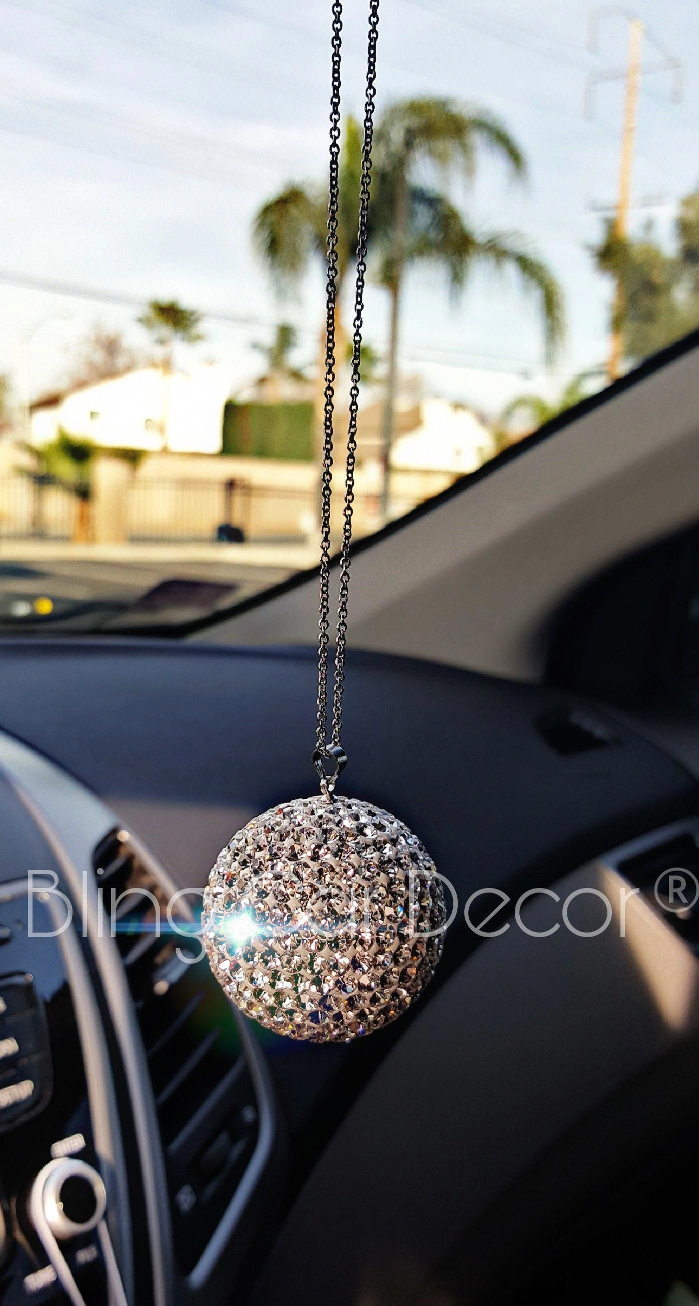 JJMY Bling Car Accessories Car Bling Decoration Crystal Ball Car Rear View Mirror Charm Bling Decor Crystal Rhinestone Car Bling Interior Accessories Silver Ball Ornaments Bling Hanging Charm