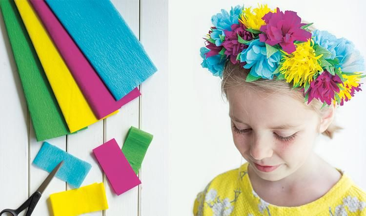 basteln blumenkranz aus papier basteln mit kindern. Black Bedroom Furniture Sets. Home Design Ideas