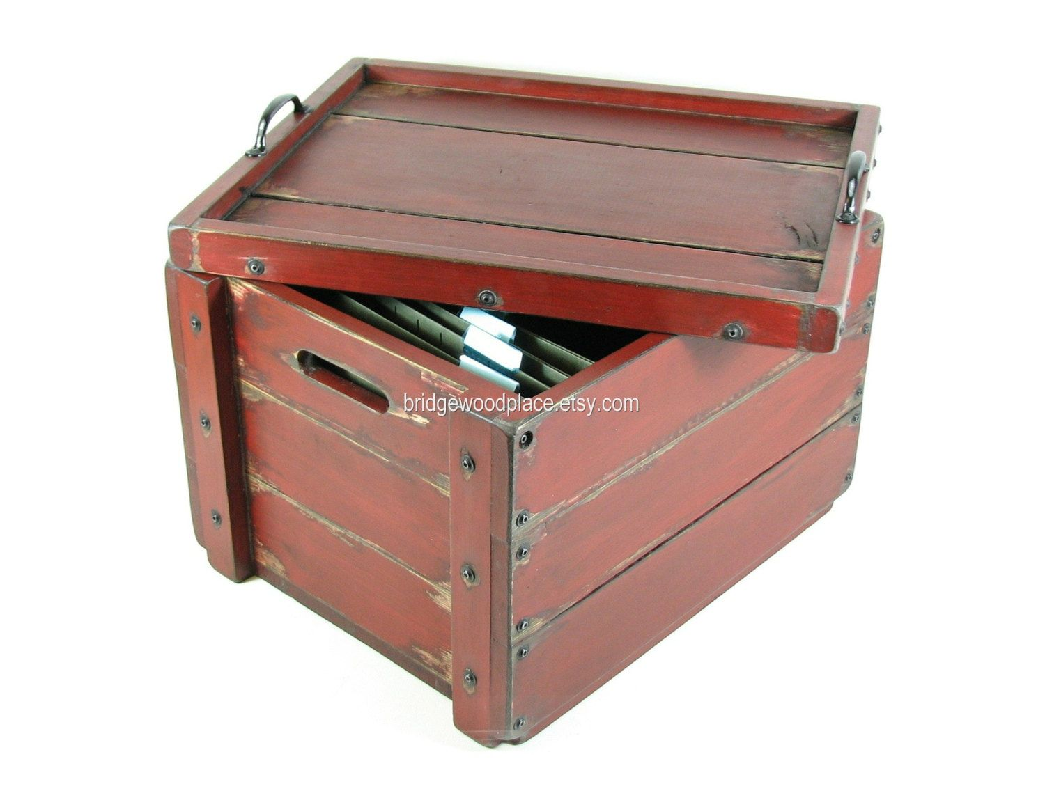 Wooden Crate Furniture Table Rustic Wood Filing Box