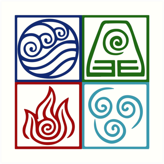 'Four Elements Symbol Avatar' Art Print by Daljo