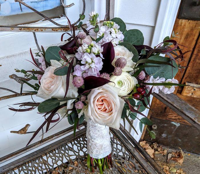 Burgundy, Plum And Blush Wedding Bouquet