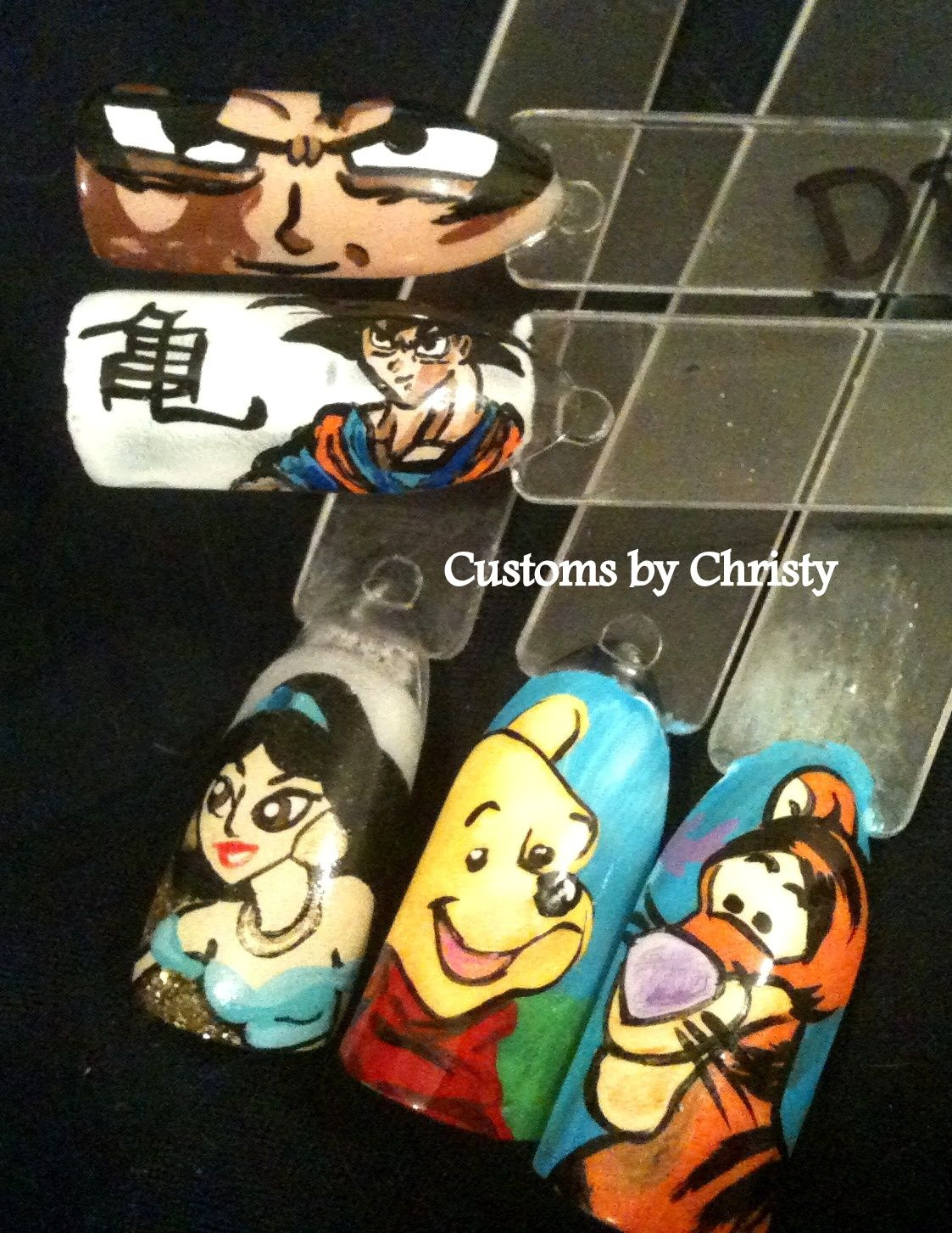 my nail art dragon ball z, whinnie the pooh, jasmine | Nails ...
