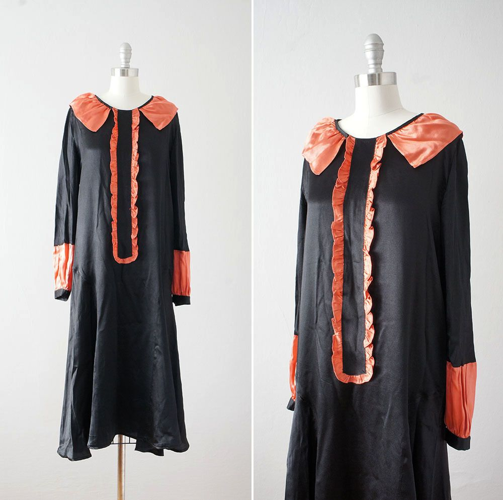Vintage late s early s black and rust satin ruffle dress