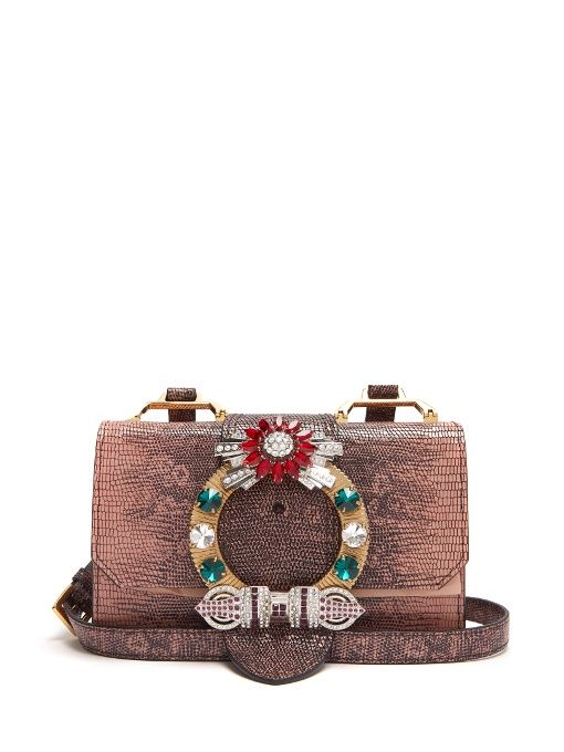 MIU MIU Buckle-Embellished Leather Cross-Body Bag.  miumiu  bags  crystal   travel bags  weekend  suede   6f904e1ec99c5