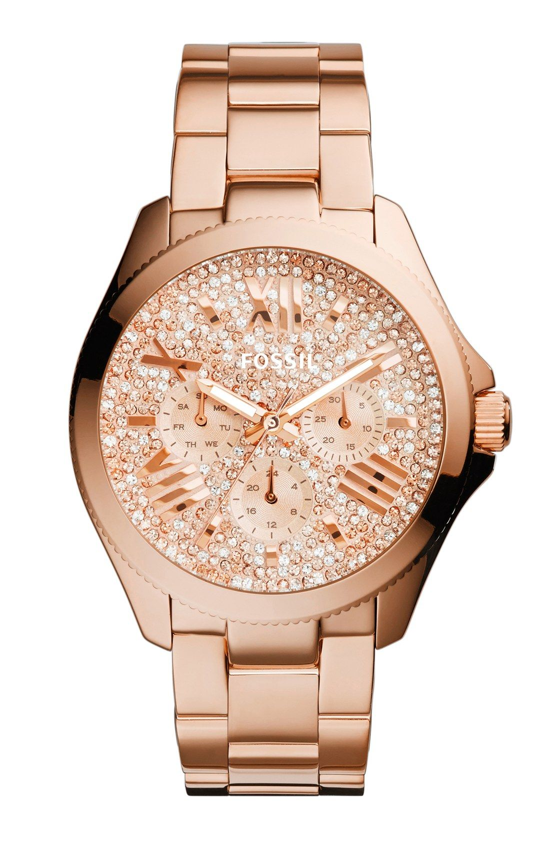 Pavé crystals shimmer and shine on this rose stunning gold watch ... a51199b7c2