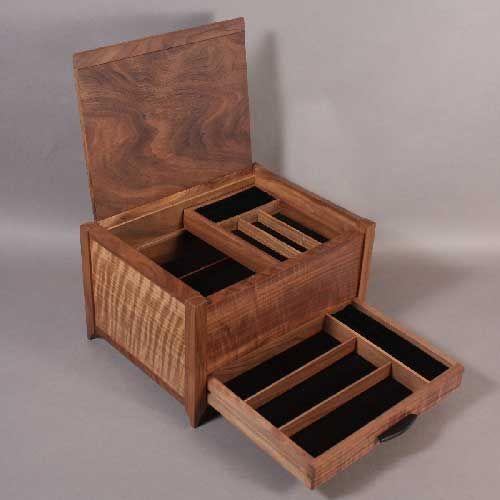 banding detail on walnut one drawer jewelry box Wood Pinterest